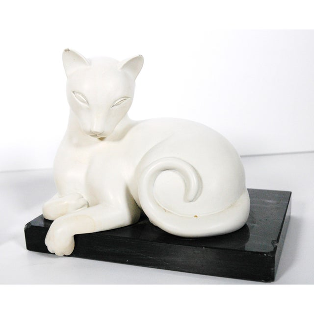 Image of Art Deco White Alabaster Cat Bookends