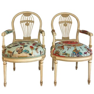 Maison Jansen Balloon Back Armchairs in Hermes Silk - A Pair