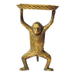 Vintage Brass Monkey Business Card Dish