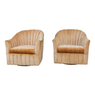 Velvet Swivel Chairs - A Pair