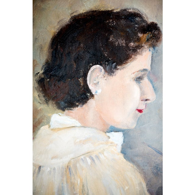 1940s Woman Oil Painter Portrait on Canvas - Image 3 of 6