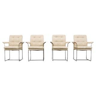 Set of 4 Milo Baughman for Thayer Coggin Chrome Highback Arm Chairs -- 1970s USA