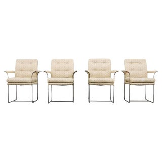 Set of 4 Milo Baughman for Thayer Coggin Chrome Highback Arm Chairs -- 1970s USA