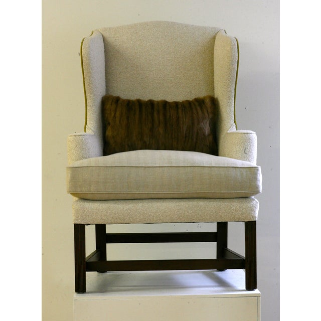 Image of Vintage Plaid Reupholstered Wingback Chair