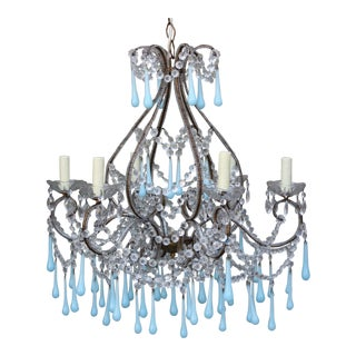 Italian Aqua Blue Murano Drop Crystal Chandelier
