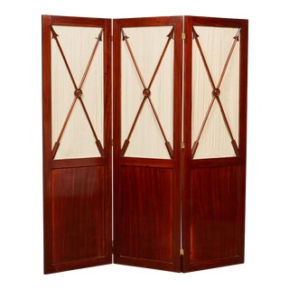18th Century English Regency 3-Panel Mahogany Screens