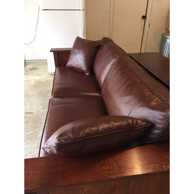 Stickley Leather and Wood Sofa - Image 4 of 7