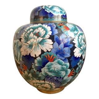 Large Vintage Blue Floral Cloisonné Ginger Jar