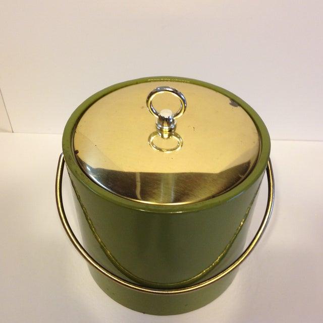 Image of Mid-Century Green & Brass Ice Bucket