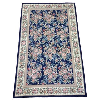 Handmade Floral Wool Needlepoint Area Rug - 4′11″ × 7′11″