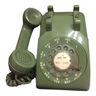 Mid-Century Modern Green Rotary Dial Phone