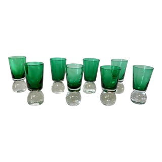 Emerald Green Shooter Glasses by Erickson Glass Co. -- Set of 8