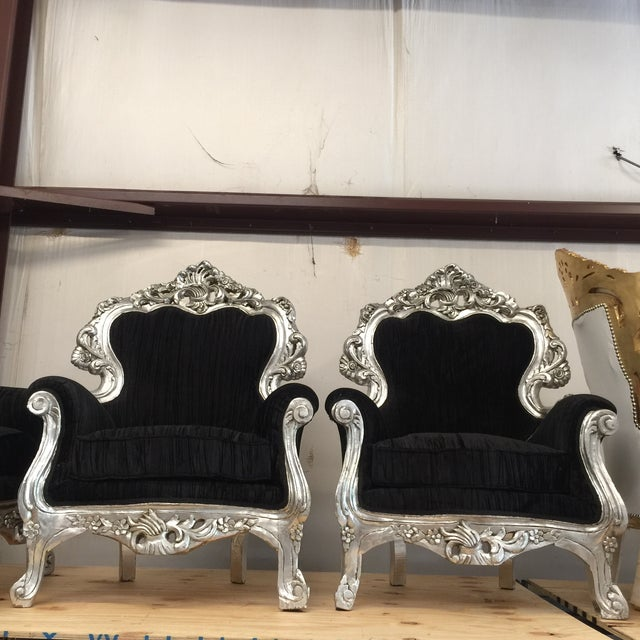 Silver & Velvet Black Throne Chairs - A Pair - Image 2 of 6
