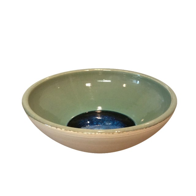 Image of Ceramic Sage and Blue Glass Bowl