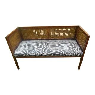 Vintage Mid-Century Modern Cane Zebra Upholstered Bench