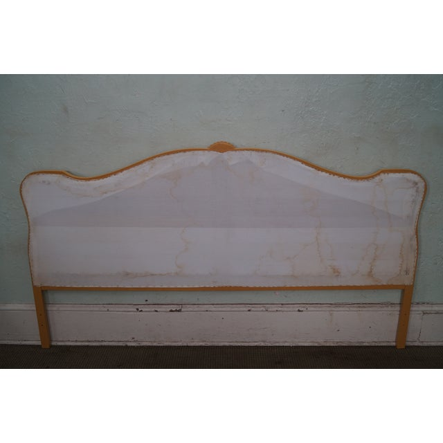 Vintage French Louis XV Style Tufted Upholstered King Headboard - Image 4 of 10