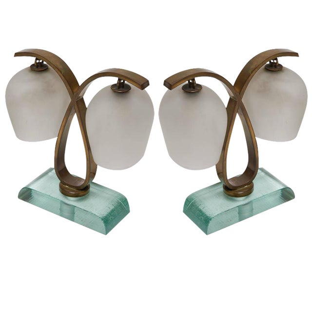 Image of Pair of Bedside Table Lamps by Fontana Arte, 1940s