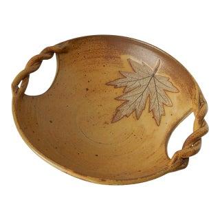 Studio Pottery Leaf Design Bowl