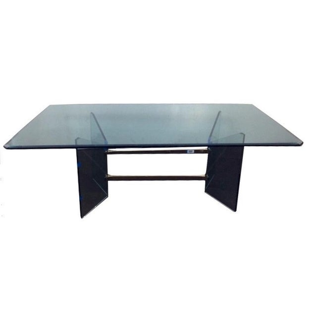 Mid-Century Modern French Tempered Glass Table - Image 1 of 4