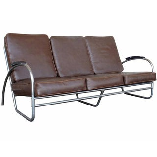 Wolfgang Hoffmann Style Chrome Tublar Sofa Royal