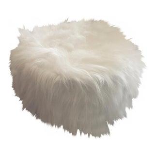 Long Flokati White Fur Stool