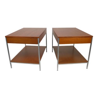 Architectural Steel and Mahogany Side Tables by George Nelson