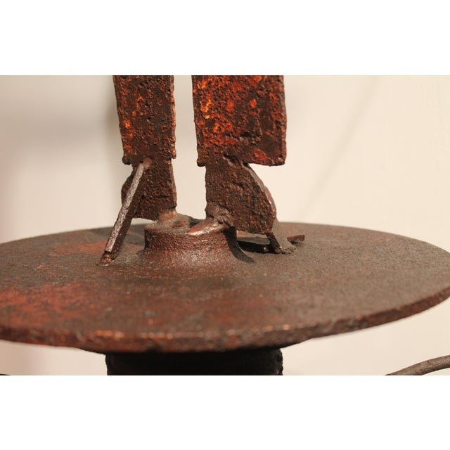 Image of Rare 19th Century Original Painted Iron Indian Weathervane with Stand