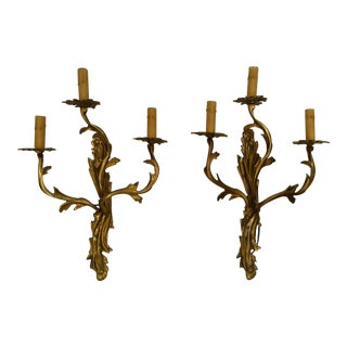 Vintage Louis XV Brass Wall Sconces - A Pair