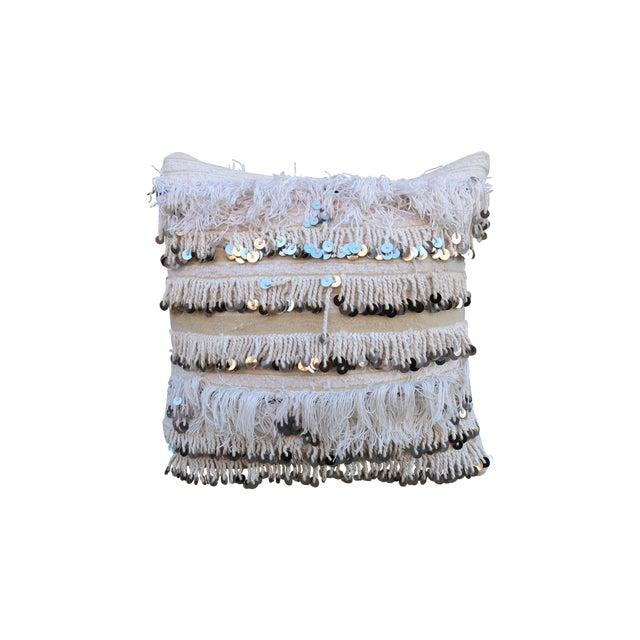 Moroccan Handira Wedding Throw Pillow - Image 1 of 3