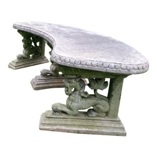 Patio Italian French Garden Lion Bench Chair - a Pair