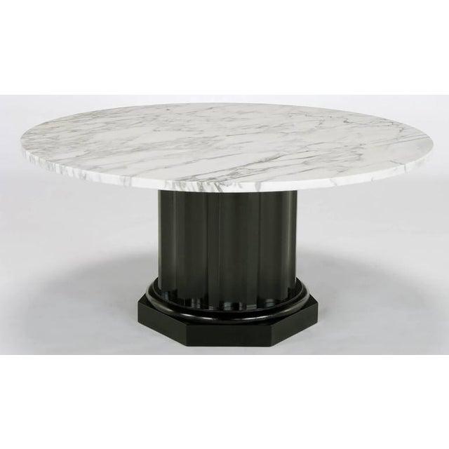 White Carrara Marble Coffee Table with Ebonized Fluted Wood Base - Image 3 of 7