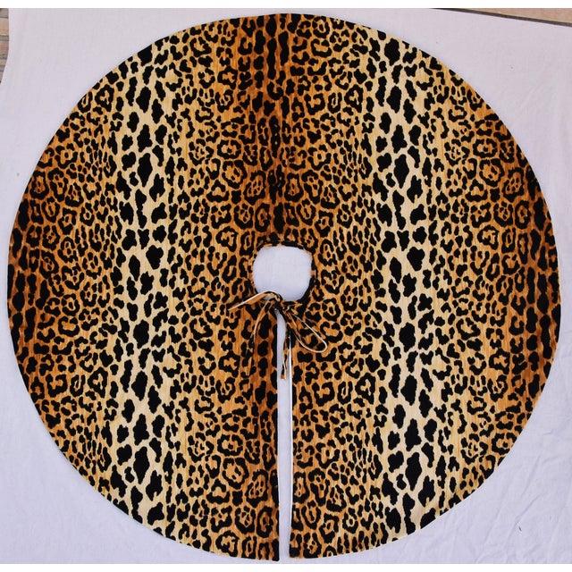 """Custom Tailored X-Large 55"""" Leopard Spot Velvety Christmas Tree Skirt - Image 2 of 9"""