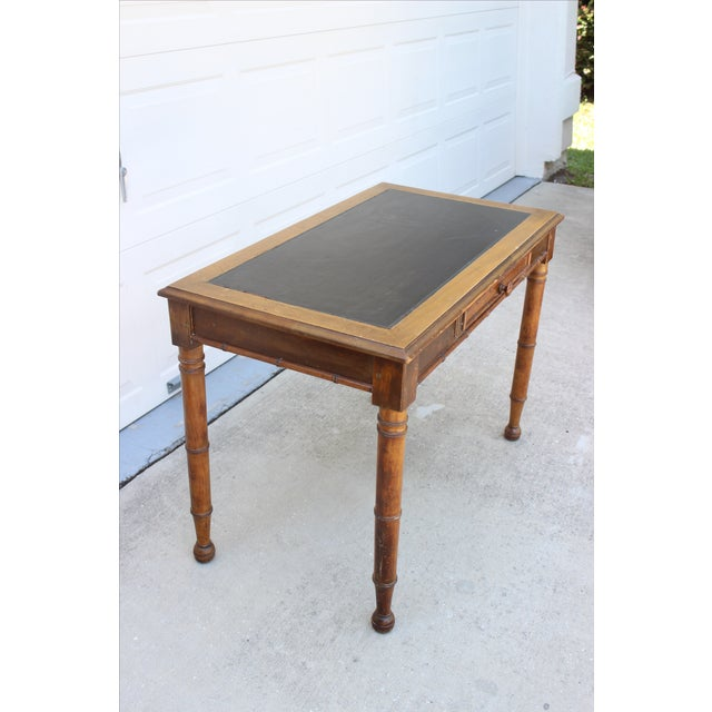 Faux Bamboo Desk with Leather Inlay - Image 8 of 11