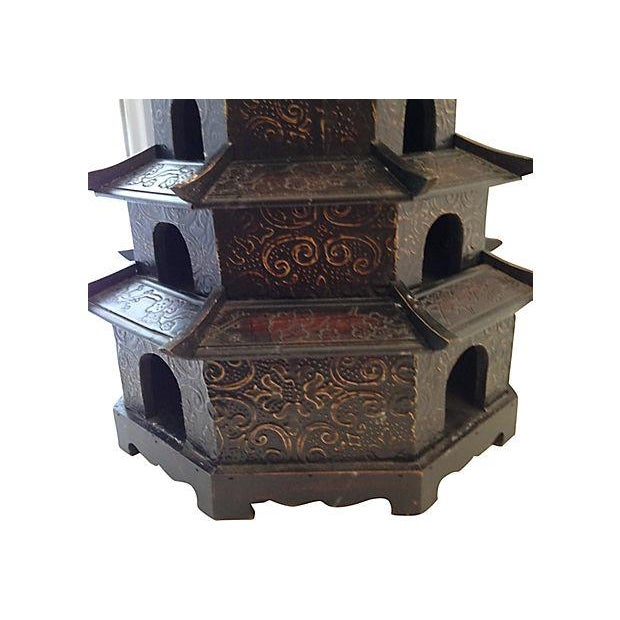 Chinoiserie Carved Wood Pagoda - Image 3 of 3
