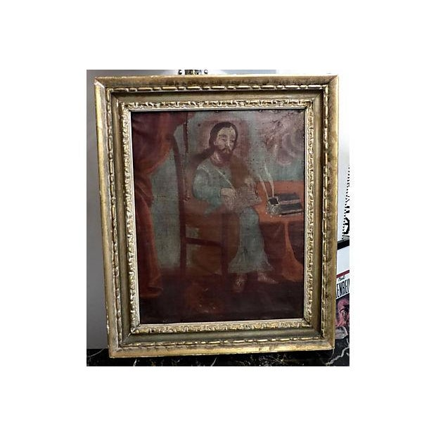 Medieval Scholar Antique Painting - Image 2 of 5