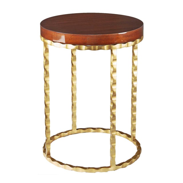 Selamat Designs Brass & Mahogany Side Table - Image 2 of 2