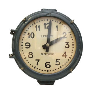 Cast Iron Blue Industrial Clock