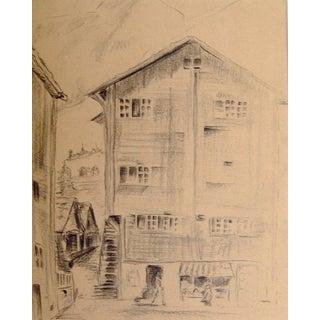 European Street Scene Pencil Study