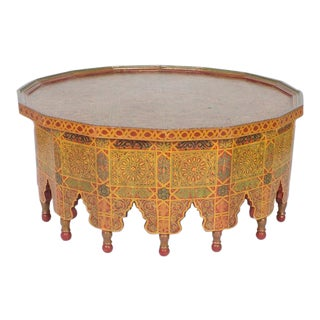 Vintage Large Hand Decorated Moroccan Cocktail or Coffee Table