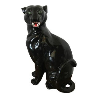 Vintage Ceramic Black Panther Figure