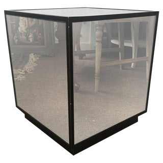 Ralph Lauren Style Antiqued Glass Cube Side Table Modern Design Glam