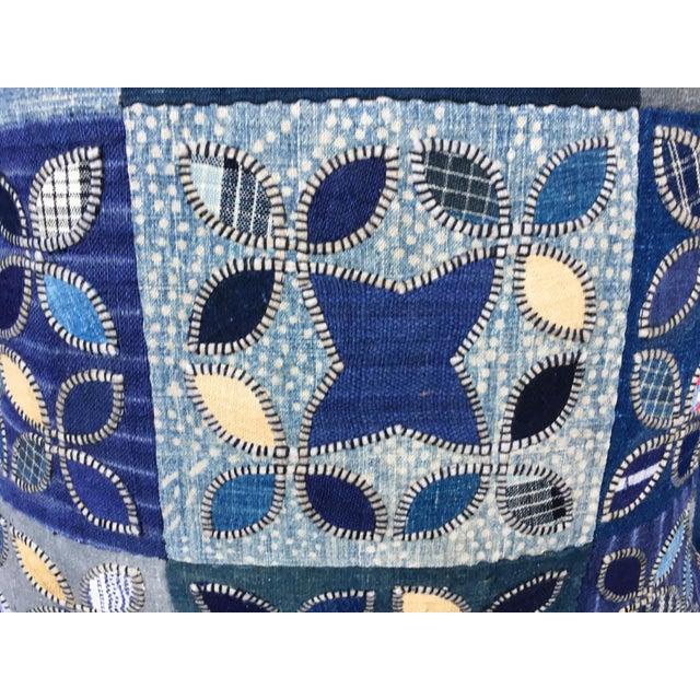 Tribal Patchwork Antique Indigo Textile Pillow - Image 7 of 9