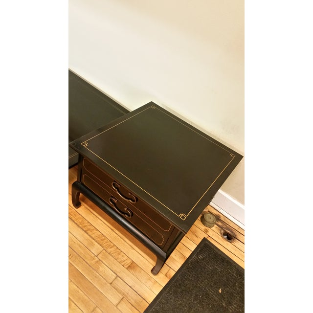 Image of Am. Of Martinsville Black Lacquer Tables - Pair