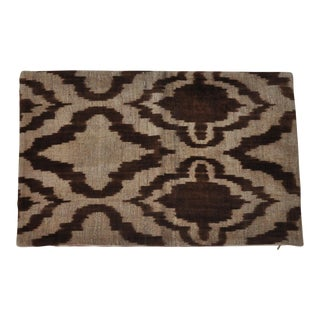 Brown Ikat Silk Velvet Throw Pillow