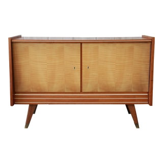 German Mid-Century Modern Walnut & Tiger Maple Credenza