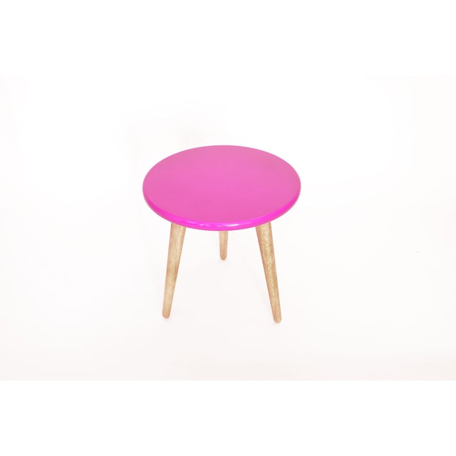 Image of High Lacquer Stool - Pink