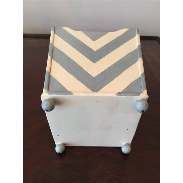 White and Blue Chevron Metal Planter - Image 6 of 6