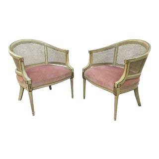 French Provincial Caned Barrel Chairs - A Pair