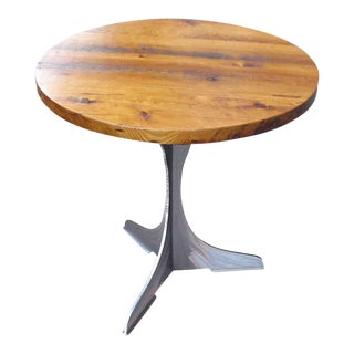 Round Pine Top With Steel Pedestal Base Bistro Table