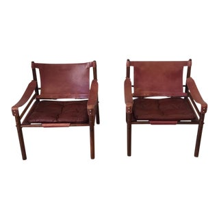 1960s Arne Norell Leather Armchairs - A Pair